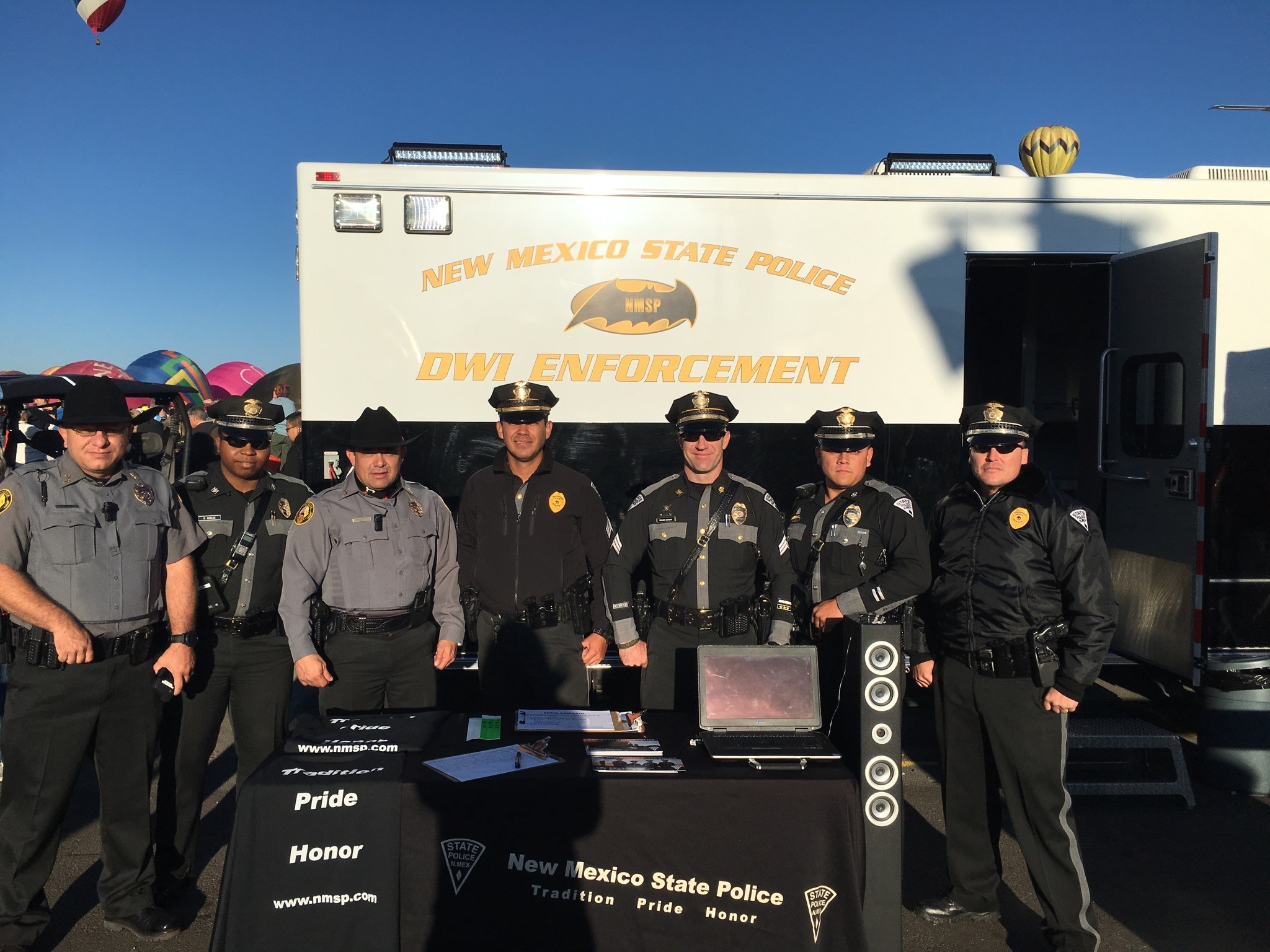 New Mexico Mounted Patrol Troopers Assisting New Mexico State Police Oifficers